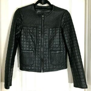 Zara Black Quilted Lambskin Leather Moto Jacket M